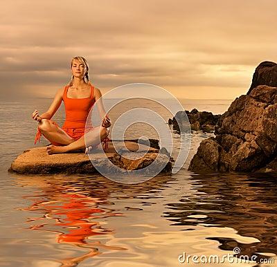 Free Woman Doing Yoga Exercise Stock Image - 6723071