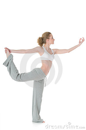 Woman doing yoga, Lord of Dance/Natarajasana pose