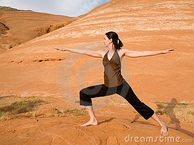 Woman Doing Yoga in Wilderness