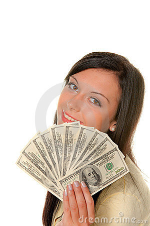 Woman with dollar bills