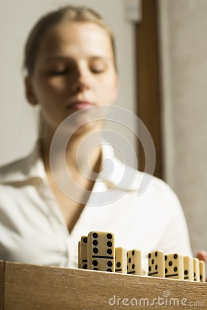 Woman with Dominos