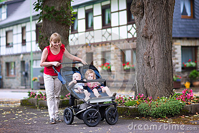 Woman With Double Stroller Stock Photo Image 43435549