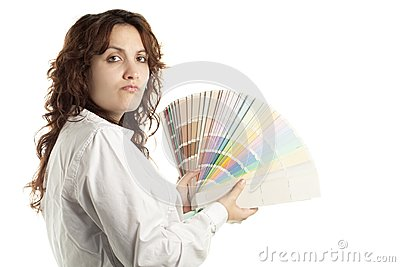 Woman in Doubt with Color Swatch