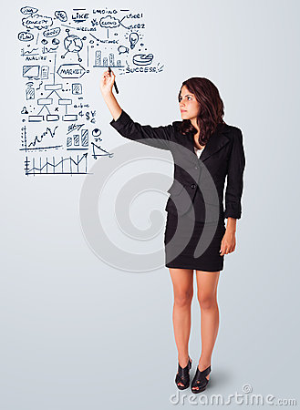 Woman drawing business scheme and icons on whiteboard