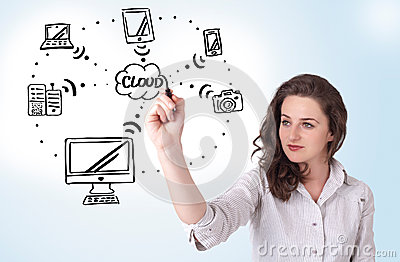 Woman drawing cloud computing