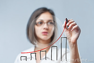 Woman drawing diagram