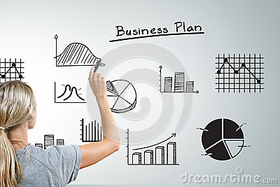 Woman drawing different business plan graphs
