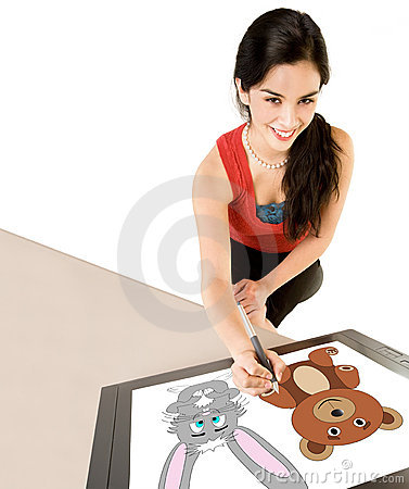 Woman Drawing on Digital Tablet
