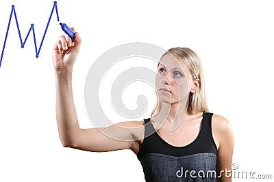 woman drawing a graph