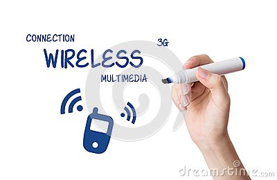 Woman drawing wireless multimedia content