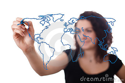 Woman drawing the world map in a whiteboard 2