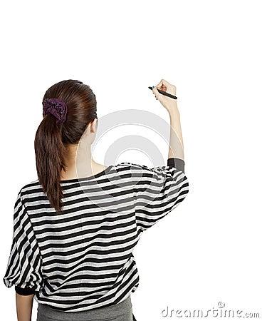 Woman drawing or writing