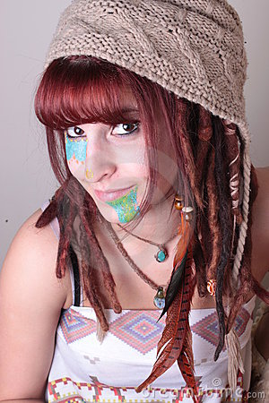 Woman with Dread Locks, Feather, and PaintPortriat