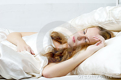 Woman dreaming in deb