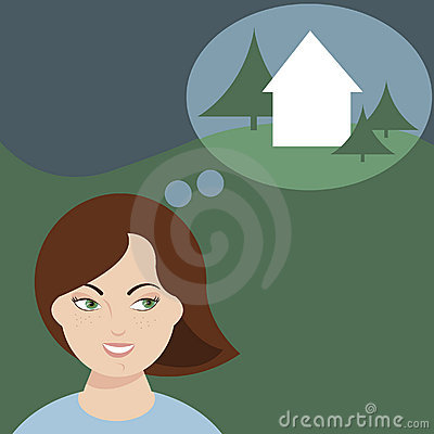 Woman dreaming of a home