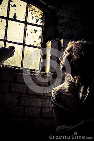 Free Woman Dreams Of Freedom In A Prison Psychiatric Stock Image - 27480141