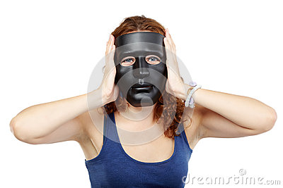 woman in dress in black mask