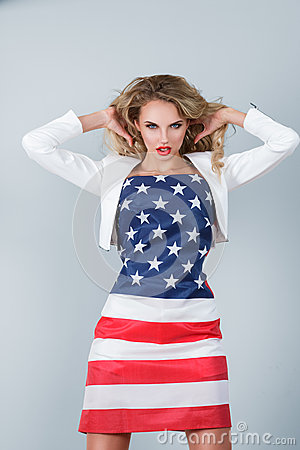 Woman dressed in american flag