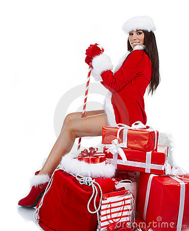 Woman dressed as Santa claus