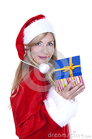 Woman dressed as Santa and holding a present
