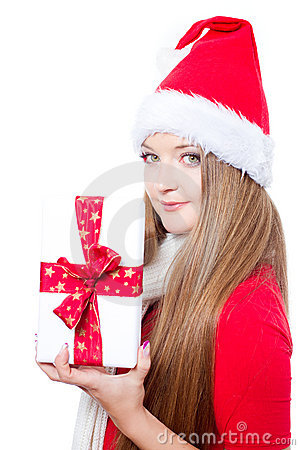 Woman dressed as Santa and holding xmas gift