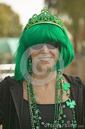 Woman dressed in green for St. Patrick s Day Editorial Stock Image