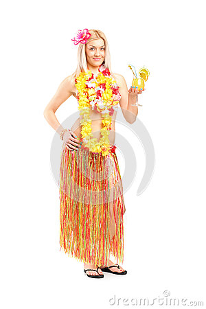 Woman dressed in a hawaiian costume