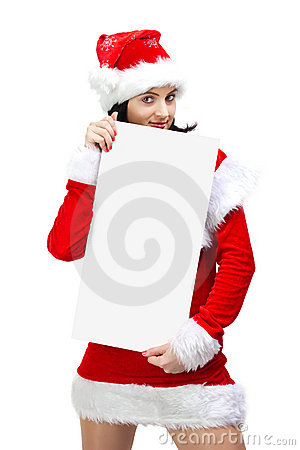 Woman dressed in santa claus with blank board