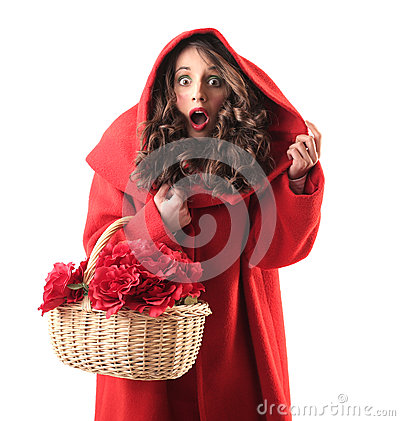 Woman dressed up as little red riding hood