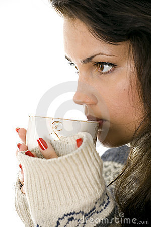 Woman drink tea from big white cup