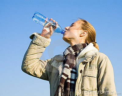 Woman Drinking Water Stock Image - Image: 6825851