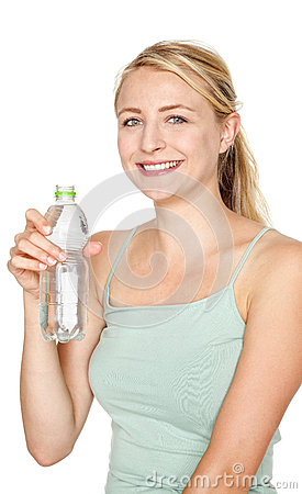 Woman drinking water after sport