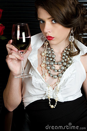 Free Woman Drinking Wine Royalty Free Stock Image - 6639786
