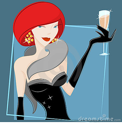 Woman drinking wine vector