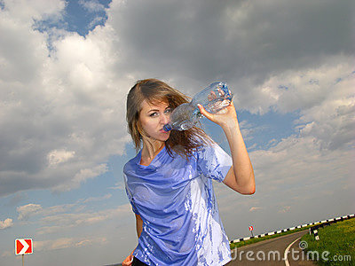 Woman drinks water