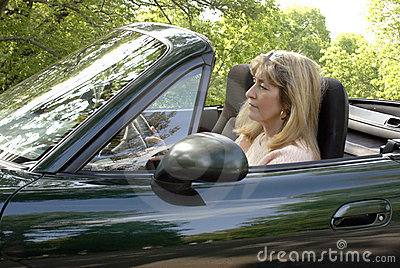 Woman driving in convertible stock images image 5318974