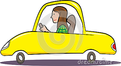 Woman driving yellow car