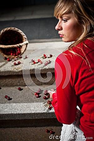Woman dropped her fresh cherries
