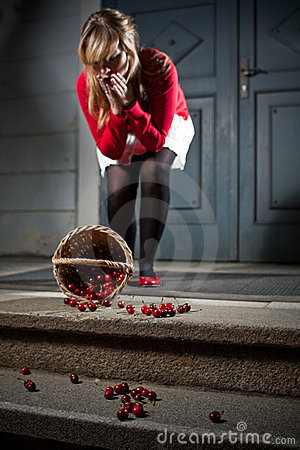 Woman dropped her fresh cherries