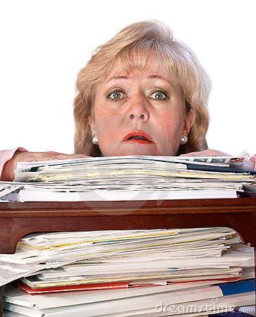 Woman drowning in paperwork