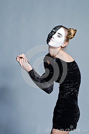Woman with dual greasepaint