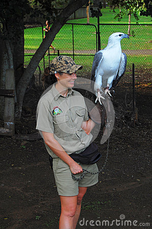 Woman with eagle in Australian Zoo Editorial Stock Image