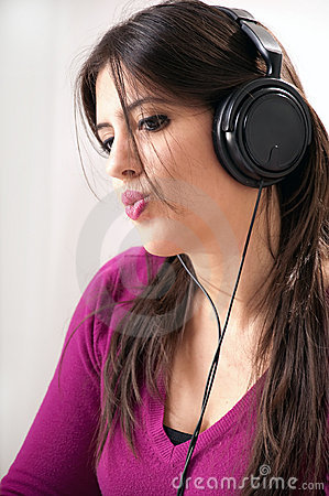 Woman with Ear Phones