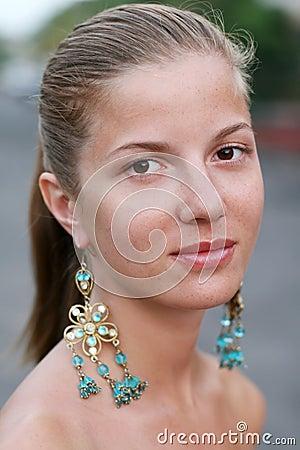Woman with earrings