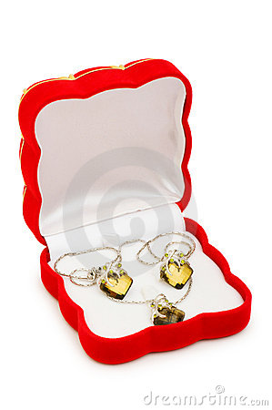 Woman earrings isolated on the white