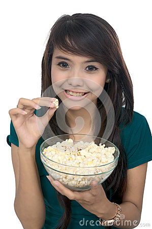 Woman Eat Popcorn