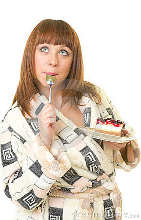 Woman eat tasty cake