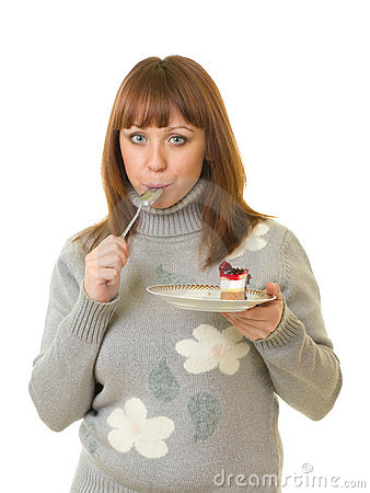 Woman eat tasty cake