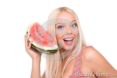 Woman eat watermelon