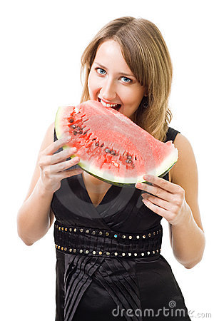 Woman eat watermelon and smiling